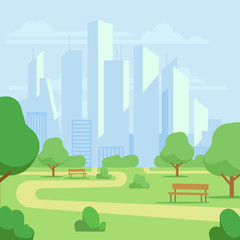 Cartoon public city park with skyscrapers cityscape vector illustration