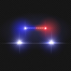 Police car headlights and blinking red siren lights isolated on transparent background