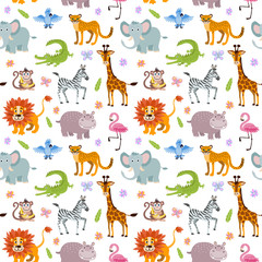 Children seamless vector wallpaper with cute and funny baby savanna animals