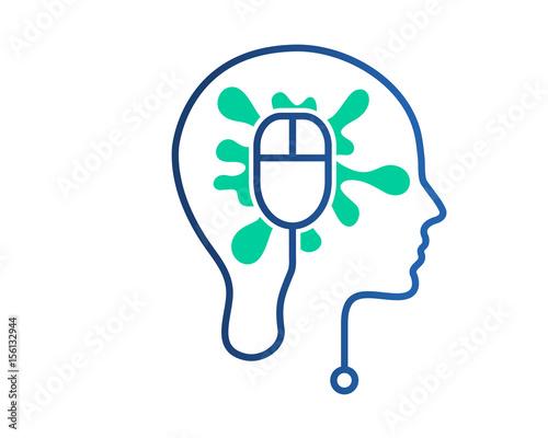 Modern Creative Technology Mind Circuit Board Logo\