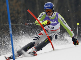 Neureuther of Germany clears a gate during the men's slalom race at the Alpine Skiing World Championships in Garmisch-Partenkirchen