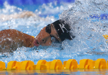 Hagino of Japan competes in the men's 200m individual medley semi-final during the World Swimming Championships in Barcelona