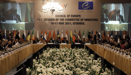 Turkey's Foreign Minister Ahmet Davutoglu addresses the Council of Europe during the 121st session of the Committee of Ministers meeting in Istanbul