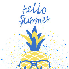 Vector fresh summer poster with pineapple in glasses, lettering and beans background.