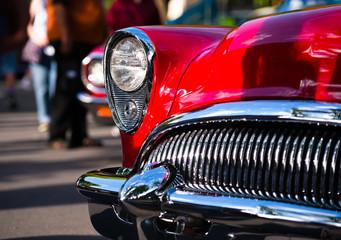 Red retro vintage chrome car details