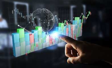 Businessman using digital 3D rendered stock exchange stats and charts