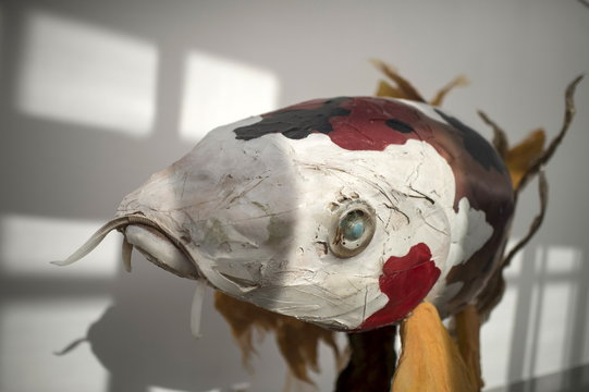 A sculpture of a fish made from waste products collected from the sea is displayed during the exhibition Keep The Oceans Clean by art collective Skeleton Sea, at the Torre Madariaga Biodiversity Centre in Busturia