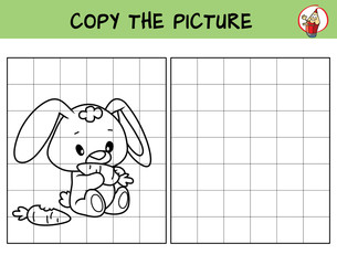 Funny little rabbit with carrot. Copy the picture. Coloring book. Educational game for children. Cartoon vector illustration