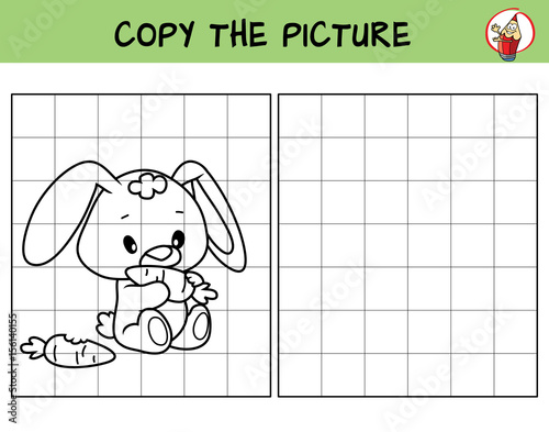 Funny Little Rabbit With Carrot Copy The Picture Coloring Book Educational Game For