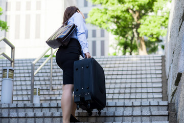 young woman going up the stairs with suitcase. back view.