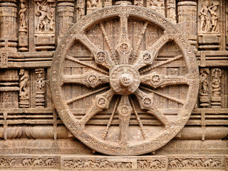 Nice carved walls in Sun God temple, Konark temple in Konorak in India.