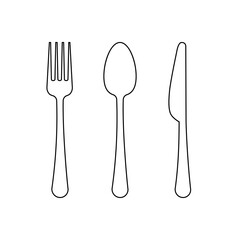 Vector drawing of a thin line of a fork, a spoon and a knife, a flat linear icon