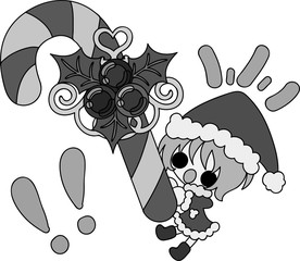The cute illustration of Christmas and a girl -Candy Kane-