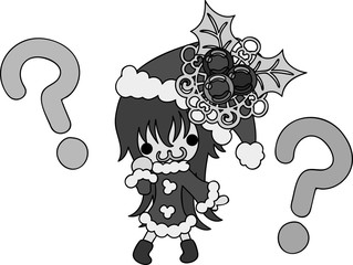 The cute illustration of Christmas and a girl -A pretty Santa Claus-
