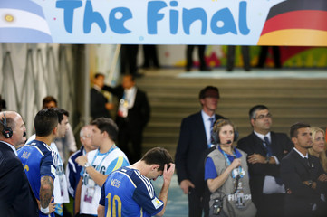 Argentina's Lionel Messi reacts after the 2014 World Cup final between Germany and Argentina at the Maracana stadium