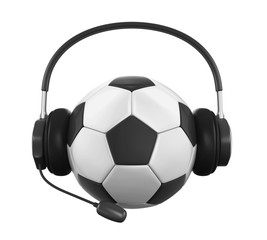 Soccer Ball with Headset Isolated