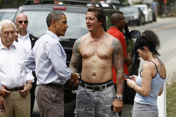 Obama tours damage in New Jersey from Hurricane Irene