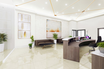 Interior reception with paintings. 3d illustration