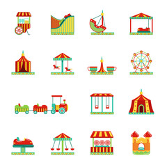 Icon set of attractions in amusement park. Circus, carousel and other vector illustrations in flat style
