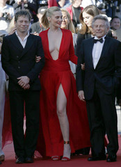 """Director Roman Polanski and cast members arrive for the screening of the film """"La Venus a la Fourrure"""" in competition during the 66th Cannes Film Festival"""