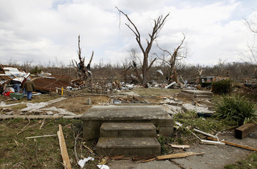The foundation of a home is pictured in Henryville