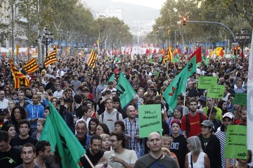Protesters from the two main trade unions UGT and CCOO walk along the Passeig de Gracia in central Barcelona