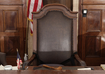 A view of the judge's chair in court room 422 of the New York Supreme Court