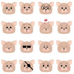 Set of 16 smiley kitten faces.
