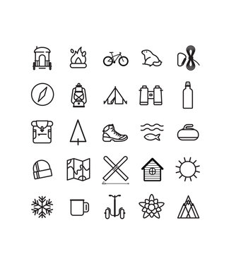 pictogrammes, icônes, randonnée, montagne sport, trekking