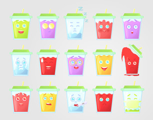 Big set of colored lemonade with emotions. Closed green cover with straw. Summer drink. Emotional icon, emoticon for message and communication, isolated on gray background.