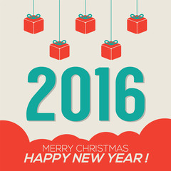 Colorful 2016 New Year Card Vector Illustration
