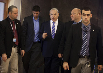 Israel's Prime Minister Netanyahu arrives to the weekly cabinet meeting in Jerusalem