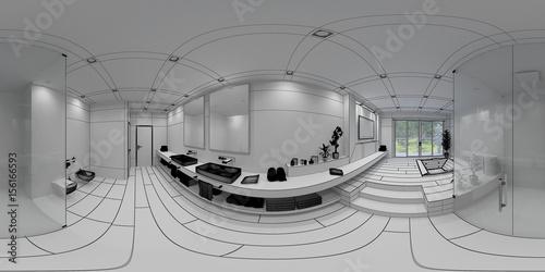 3d Interior Rendering Of A Modern Bathroom For Virtual Reality Stockfotos Und Lizenzfreie