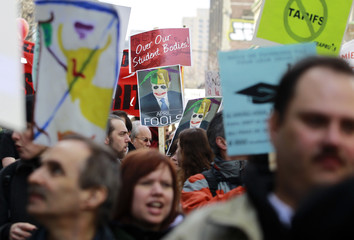 Demonstrators take to streets to protest against provincial budget in Montreal