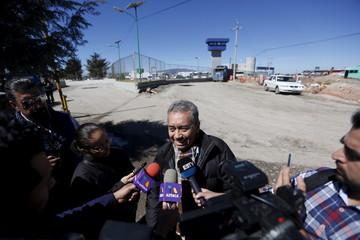 "Gonzalez Meza, a lawyer representing drug lord Joaquin ""El Chapo"" Guzman, speaks with journalists outside the Altiplano Federal Penitentiary, where Guzman is imprisoned in Almoloya de Juarez"