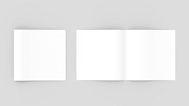 Spuare bi-fold , half fold brochure mock up. 3D illustrating.