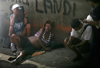 File photo of a pregnant woman smoking crack in the part of Sao Paulo's Luz neighborhood known as Cracolandia
