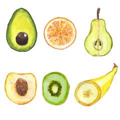 Set of a various fruit