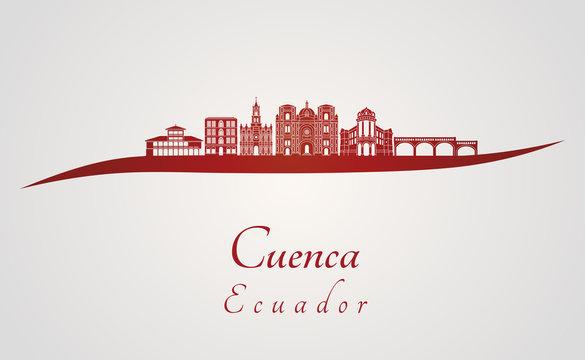 Cuenca EC skyline in red