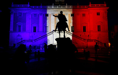 """Rome's city hall, """"Campidoglio"""" (Capitoline Hill) is lit up in blue, white and red, the colors of the French flag, in tribute to the attack victims of Nice, in Rome"""