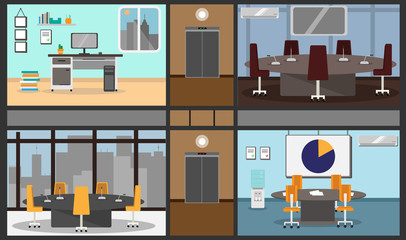 illustration of a set of offices and a hall for conferences was in one image in a building with a corridor and elevator, with furniture, appliances and other office objects