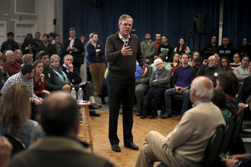 Republican presidential candidate and former Florida Governor Jeb Bush speaks to voters at a town hall meeting campaign stop at Colby-Sawyer College in New London