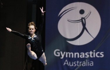 Australian gymnast Mitchell competes at the beam during the Australian Gymnastics Championships at Olympic Park in Sydney