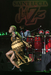 Benin-born singer Angelique Kidjo performs at the 20th Annual St. Lucia Jazz Festival at Pigeon Island