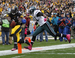 Pittsburgh Steelers Rashard Mendenhall scores a touchdown against Philadelphia Eagles Jamar Chaney in Pittsburgh