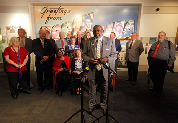 North Carolina's District 10 Elector Glenn Pinckney Sr. speaks to the media in front of his fellow state Electors before they rehearsed for tomorrow's electoral college vote in Raleigh, North Carolina