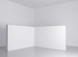 white light room with frame. Mockup 3d render