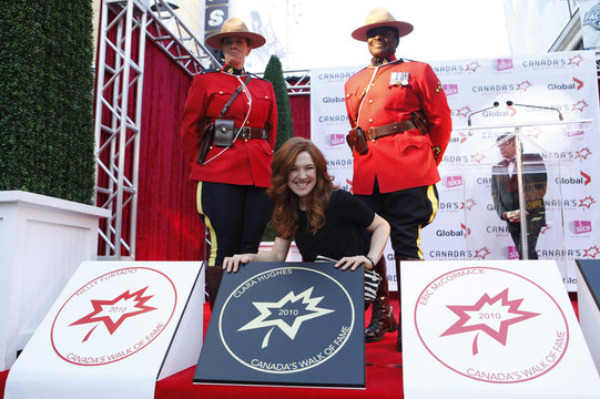 Canadian Olympic athelete Hughes poses with her star during the 13th annual Canada's Walk of Fame in Toronto