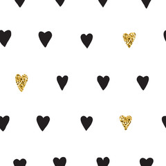 Ink and gold hand drawn doodle vector seamless heart pattern.