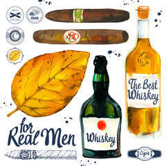 Watercolor and sketch illustration with classical smoking and drink set. Tobacco, hand rolled cigars, whiskey, leaf in hand drawn style. Best cuban quality.